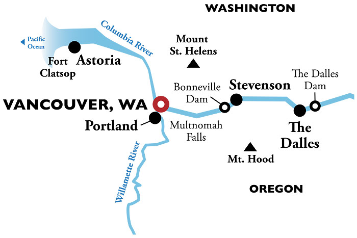 Colombia River Cruise (American Empress | Vancouver Roundtrip) on pend oreille river washington state map, columbia river washington state map, skagit river washington state map, snake river washington state map,